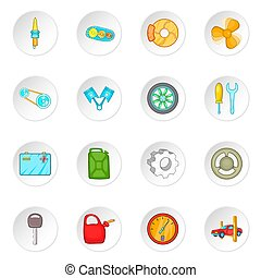 Car maintenance icons set, cartoon style