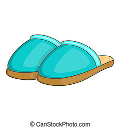 Home slippers icon, cartoon style - Home slippers icon in...