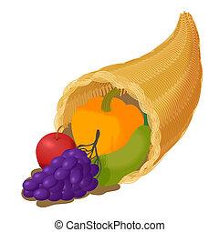 Cornucopia with fruit icon, cartoon style - Cornucopia with...