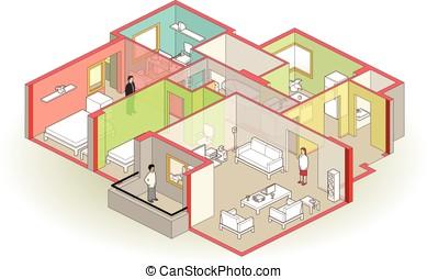 home cutaway - isometric house cutaway