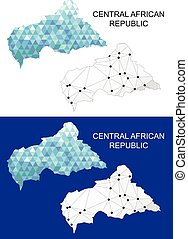 Central African Republic map in geometric polygonal style....