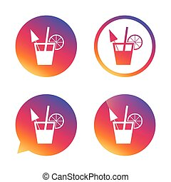 Cocktail sign. Alcoholic drink symbol. Gradient buttons with...