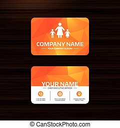 One-parent family with two children sign icon. - Business or...