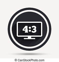 Aspect ratio 4:3 widescreen tv. Monitor symbol. - Aspect...