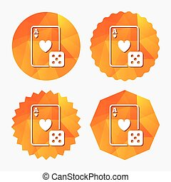 Casino sign icon. Playing card with dice symbol. Triangular...