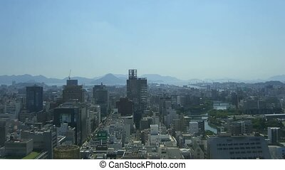 Time lapse Hiroshima City skyline in Japan