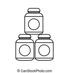 Sport nutrition containers icon, outline style - icon in...