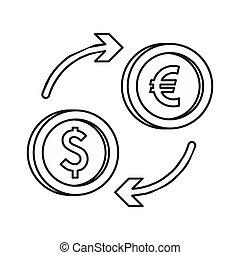 Euro dollar euro exchange icon, outline style - icon in...