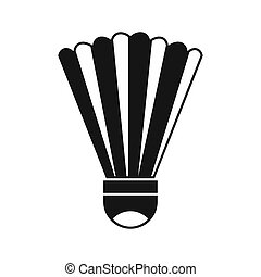 Shuttlecock icon, simple style - icon in flat style on a...