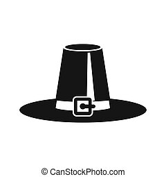 Pilgrim hat icon in simple style on a white background...