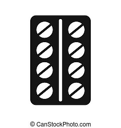Round pills in a blister pack icon, simple style - icon in...