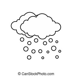 Cloud and snow icon, outline style - icon in outline style...