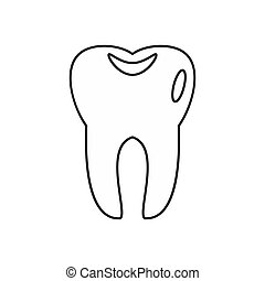 Tooth icon in outline style - icon in outline style on a...