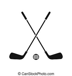 Two crossed golf clubs and ball icon, simple style - icon in...