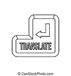 Translate button icon, outline style - icon in outline style...