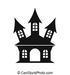 Halloween or witch castle icon, simple style - icon in...