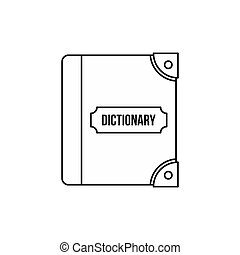 English dictionary icon, outline style - icon in outline...