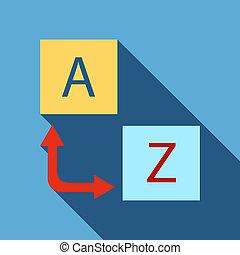Logo translator icon, flat style - Logo translator icon in...