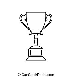 Trophy cup icon, outline style - icon in outline style on a...