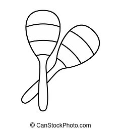 Maracas icon in outline style - icon in outline style on a...
