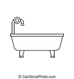 Bathtub icon, outline style - icon in outline style on a...
