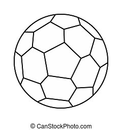Soccer ball icon, outline style - icon in outline style on a...