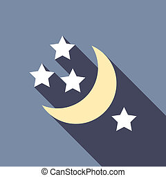Half moon and stars icon, flat style - Half moon and stars...