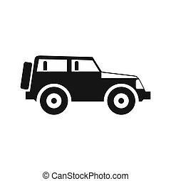 Jeep icon in simple style - icon in flat style on a white...