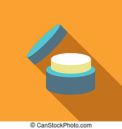 Cosmetic face cream jar icon, flat style - Cosmetic face...
