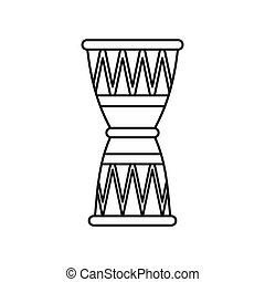 Ethnic drum icon, outline style - icon in outline style on a...