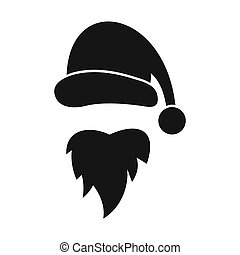 Santa Claus hat and beard icon, simple style - icon in...