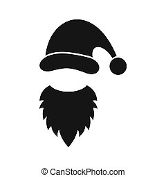 Cap with pompon of Santa Claus and beard icon - icon in...