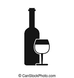 Wine bottle and glass icon, simple style - icon in flat...