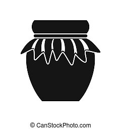 Jam in glass jar icon, simple style - icon in flat style on...
