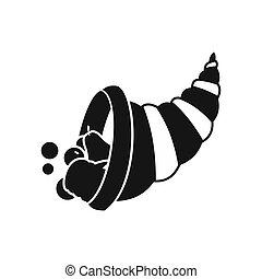 Thanksgiving cornucopia icon, simple style - icon in flat...
