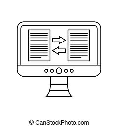 Translator app on the computer screen icon - icon in outline...