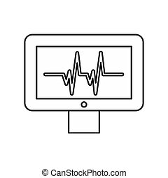 Electrocardiogram monitor icon, outline style - icon in...