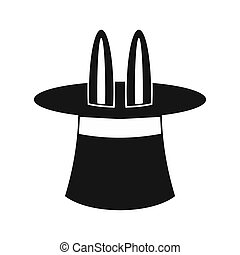 Rabbit ears appearing from a top magic hat icon - icon in...