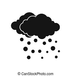 Cloud and snow icon, simple style - icon in flat style on a...