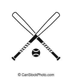 Crossed baseball bats and ball icon, simple style - icon in...