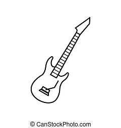 Electric guitar icon, outline style - icon in outline style...