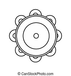 Tambourine icon in outline style - icon in outline style on...