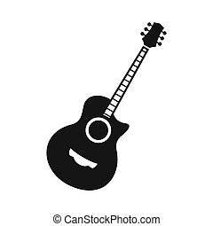 Classical guitar icon, simple style - icon in flat style on...