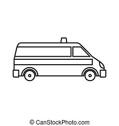 Ambulance car icon, outline style - icon in outline style on...