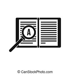Magnifying glass over open book icon, simple style - icon in...
