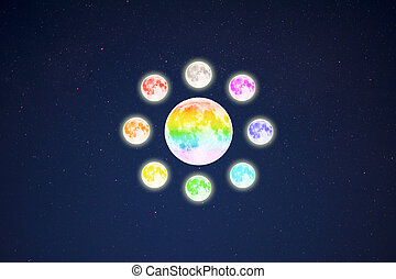 Circle of rainbow colored full moons on starry sky...