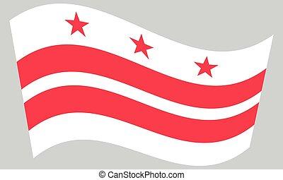 Flag of Washington, D.C. waving on gray background -...