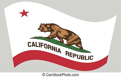 Flag of California waving on gray background - Californian...