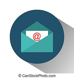envelope email with arroba symbol vector illustration design