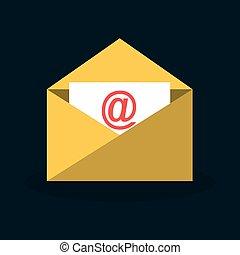 envelope email with arroba symbol vector illustration design